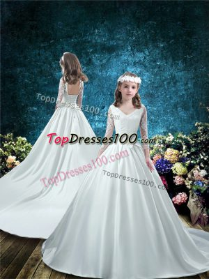Sumptuous White Lace Up Flower Girl Dress Lace and Bowknot 3 4 Length Sleeve Court Train