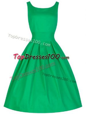 Green A-line Taffeta Scoop Sleeveless Ruching Knee Length Lace Up Dama Dress for Quinceanera