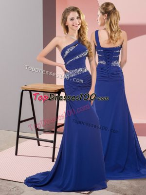 Chic Blue Sleeveless Sweep Train Beading Floor Length Dress for Prom