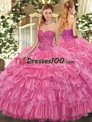 Stylish Floor Length Rose Pink Sweet 16 Dress Organza Sleeveless Beading and Ruffled Layers and Pick Ups