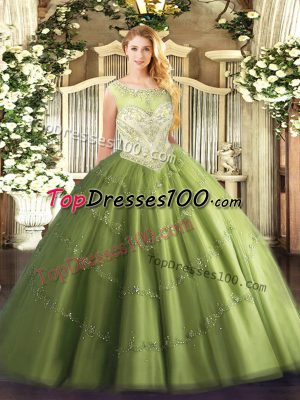 Smart Floor Length Olive Green 15 Quinceanera Dress Tulle Cap Sleeves Beading