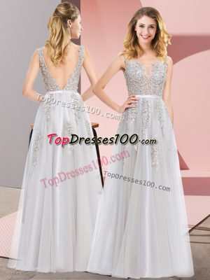 Spectacular Grey Sleeveless Lace and Appliques Floor Length Dress for Prom