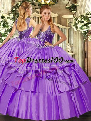 Lavender Ball Gowns Organza and Taffeta Straps Sleeveless Beading and Ruffled Layers Floor Length Lace Up Quinceanera Dresses