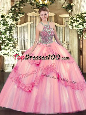 Admirable Baby Pink Sweet 16 Quinceanera Dress Military Ball and Sweet 16 and Quinceanera with Beading and Appliques Halter Top Sleeveless Lace Up