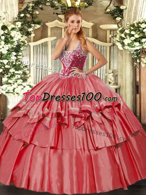 Straps Sleeveless Organza and Taffeta Quinceanera Dresses Beading and Ruffled Layers Lace Up