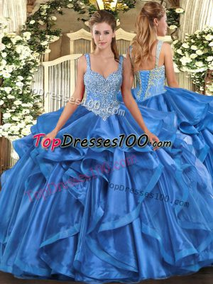Admirable Blue Sleeveless Floor Length Beading and Ruffles Lace Up Vestidos de Quinceanera