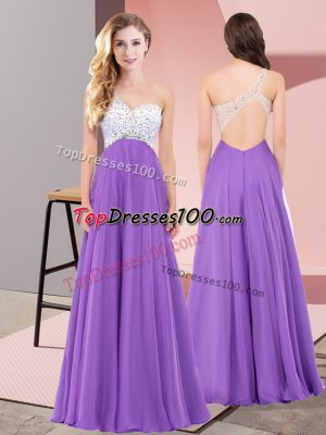 New Style Eggplant Purple Lace Up Evening Dress Beading Sleeveless Floor Length