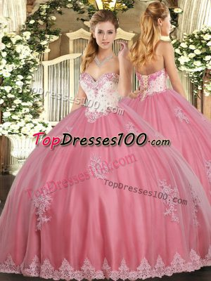 Watermelon Red Lace Up Sweetheart Beading and Appliques Sweet 16 Quinceanera Dress Tulle Sleeveless