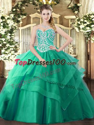 Sweetheart Sleeveless Lace Up Quinceanera Gown Turquoise Tulle