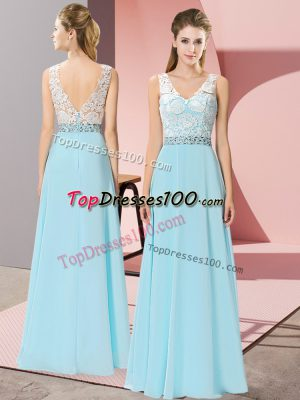 Ideal Floor Length Aqua Blue Prom Dresses Chiffon Sleeveless Beading