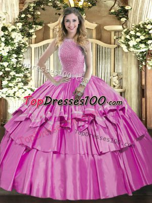 Ideal Sleeveless Organza and Taffeta Floor Length Lace Up Quince Ball Gowns in Lilac with Beading and Ruffled Layers