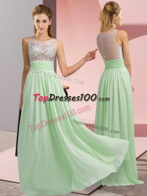 Dramatic Scoop Sleeveless Prom Dress Floor Length Beading Apple Green Chiffon