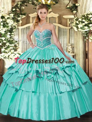 New Style Sweetheart Sleeveless Organza and Taffeta Sweet 16 Dresses Beading and Ruffled Layers Lace Up