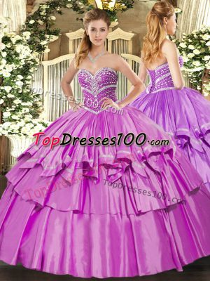Beautiful Sleeveless Organza and Taffeta Floor Length Lace Up 15th Birthday Dress in Lilac with Beading and Ruffled Layers