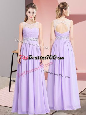 Pretty Lavender Scoop Lace Up Beading Prom Party Dress Sleeveless