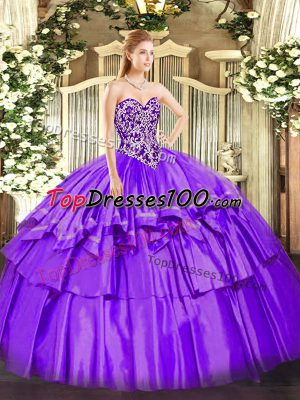 Superior Sweetheart Sleeveless Organza and Taffeta Ball Gown Prom Dress Beading and Ruffled Layers Lace Up
