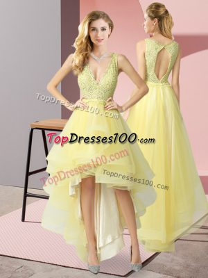 Shining Yellow Sleeveless High Low Beading Backless Prom Dress