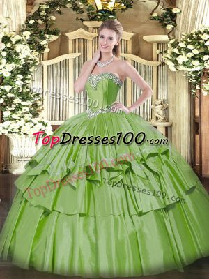 Yellow Green Ball Gowns Sweetheart Sleeveless Organza and Taffeta Floor Length Lace Up Beading and Ruffled Layers Quinceanera Dresses