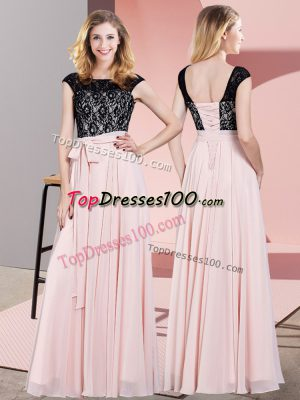 Baby Pink Chiffon Lace Up Scoop Sleeveless Floor Length Prom Dresses Lace and Belt