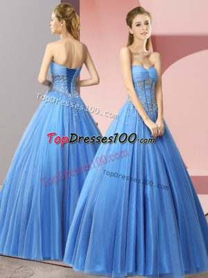 Dramatic Baby Blue Sweetheart Neckline Beading Prom Party Dress Sleeveless Lace Up