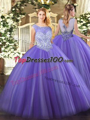 Excellent Lavender Sweet 16 Dresses Sweet 16 and Quinceanera with Beading Scoop Sleeveless Zipper