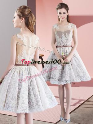 Affordable White A-line Appliques and Belt Dress for Prom Zipper Taffeta and Tulle Sleeveless Mini Length