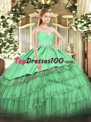 Hot Selling Sleeveless Organza and Taffeta Floor Length Zipper Quinceanera Dresses in Green with Beading and Lace and Embroidery and Ruffled Layers
