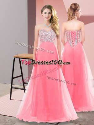 Watermelon Red Tulle Lace Up Sweetheart Sleeveless Floor Length Prom Dresses Beading