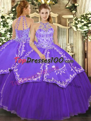 Custom Made Purple Lace Up Halter Top Beading and Embroidery 15th Birthday Dress Satin and Tulle Sleeveless