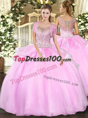 Perfect Sleeveless Tulle Floor Length Clasp Handle Quince Ball Gowns in Baby Pink with Beading and Ruffles
