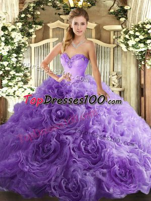 Inexpensive Sweetheart Sleeveless Fabric With Rolling Flowers Quinceanera Gown Beading Lace Up