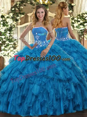Popular Floor Length Lace Up Sweet 16 Quinceanera Dress Baby Blue for Military Ball and Sweet 16 and Quinceanera with Beading and Ruffles