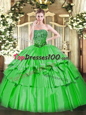 Hot Sale Green Lace Up Strapless Beading and Ruffled Layers Quinceanera Gowns Organza and Taffeta Sleeveless