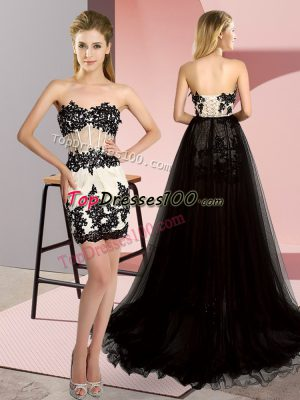 Glamorous White And Black Sweetheart Neckline Embroidery Prom Gown Sleeveless Lace Up