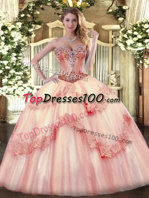 aba98a5c82b Sleeveless Tulle Lace Up Ball Gown Prom Dress in Baby Pink with Beading and  Appliques