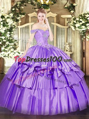 Lavender Ball Gowns Organza and Taffeta Off The Shoulder Sleeveless Beading and Ruffled Layers Floor Length Lace Up Quinceanera Gown