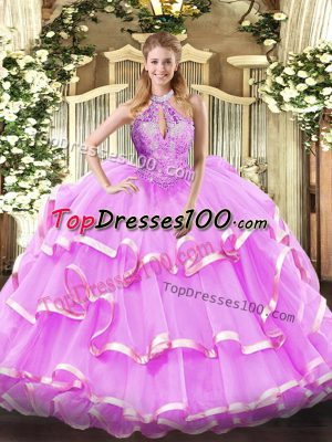 Flirting Lilac Halter Top Lace Up Beading 15th Birthday Dress Sleeveless
