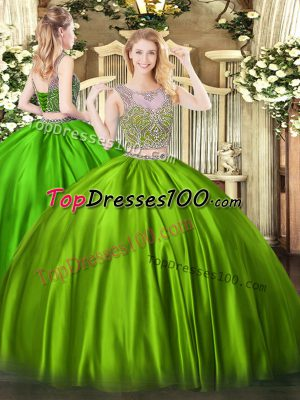 Lace Up Sweet 16 Quinceanera Dress Beading Sleeveless Floor Length