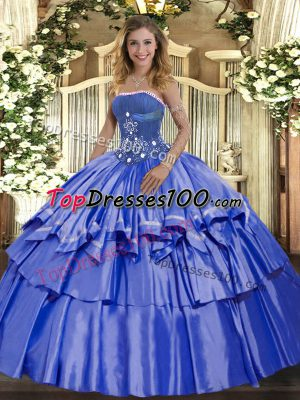 Blue Ball Gowns Strapless Sleeveless Organza and Taffeta Floor Length Lace Up Beading and Ruffled Layers Ball Gown Prom Dress