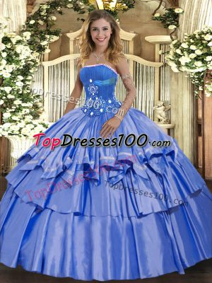 Organza and Taffeta Sleeveless Floor Length Quinceanera Dresses and Beading and Ruffled Layers