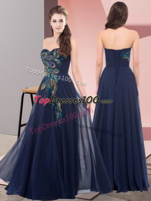 Delicate Floor Length Empire Sleeveless Navy Blue Prom Dresses Lace Up