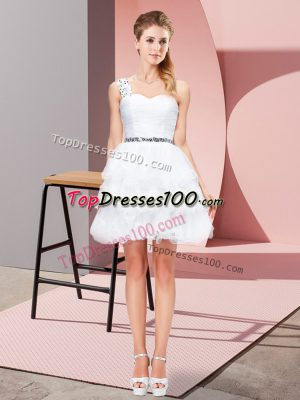 Superior White Sleeveless Mini Length Beading and Ruffled Layers Lace Up Prom Dress