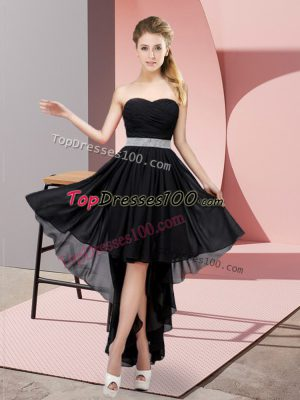 Black Chiffon Lace Up Sweetheart Sleeveless High Low Prom Dress Beading