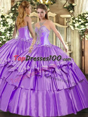 Hot Sale Organza and Taffeta Sleeveless Floor Length Quinceanera Gown and Beading and Ruffled Layers