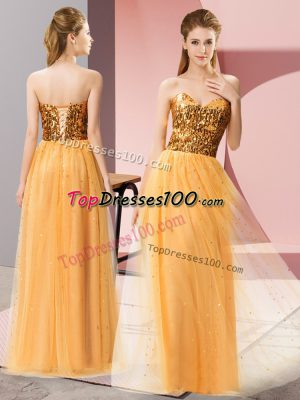 Fancy Gold Tulle Lace Up Sweetheart Sleeveless Floor Length Homecoming Dress Sequins