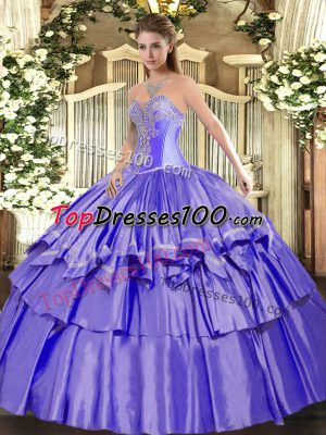 On Sale Lavender Ball Gowns Beading and Ruffled Layers Sweet 16 Dresses Lace Up Organza and Taffeta Sleeveless Floor Length
