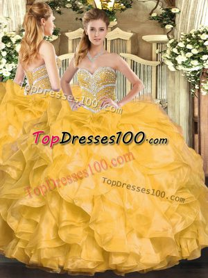 Flare Sleeveless Beading and Ruffles Lace Up Quince Ball Gowns