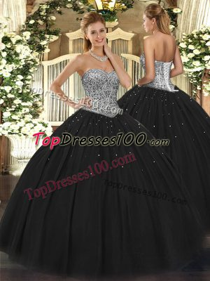 Edgy Floor Length Ball Gowns Sleeveless Black Quinceanera Gown Lace Up