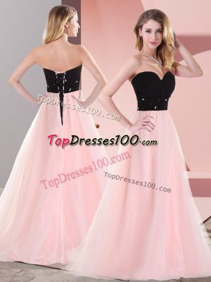 Best Pink And Black Empire Tulle Sweetheart Sleeveless Belt Floor Length Lace Up Prom Party Dress