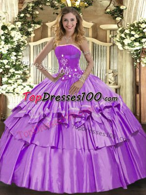 Fabulous Sleeveless Organza and Taffeta Floor Length Lace Up 15 Quinceanera Dress in Lavender with Beading and Ruffled Layers